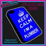 FITS IPHONE 4 / 4S PHONE KEEP CALM IM A PLUMBER  PLASTIC COVER BLUE